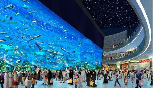 World largest acrylic panel aquarium at dubai mall set a for The big hotel in dubai